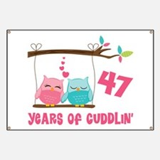 47th Anniversary Owl Couple Banner