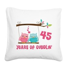 45th Anniversary Owl Couple Square Canvas Pillow