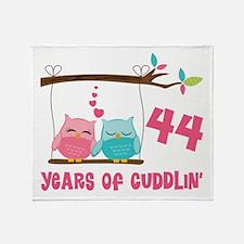 44th Anniversary Owl Couple Throw Blanket