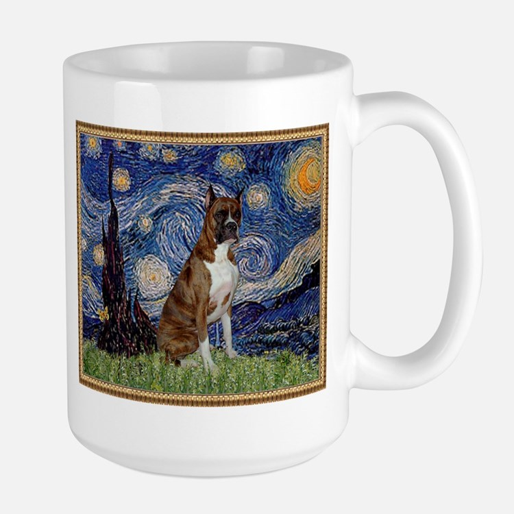 Starry Night and Brindle Boxer Mug