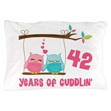 42nd Anniversary Owl Couple Pillow Case