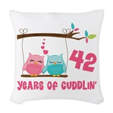 42nd Anniversary Owl Couple Woven Throw Pillow