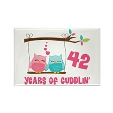 42nd Anniversary Owl Couple Rectangle Magnet