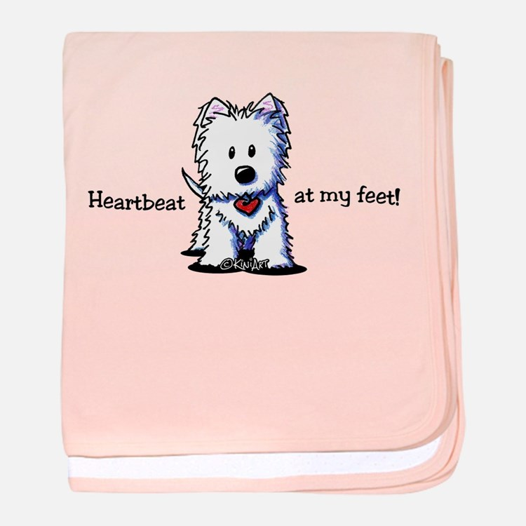 Westie Heartbeat baby blanket