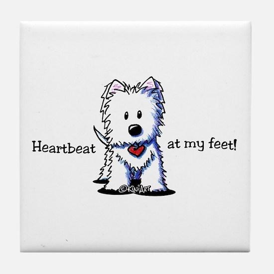 Westie Heartbeat Tile Coaster