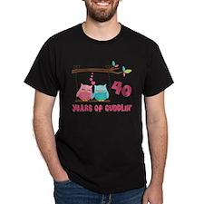 40th Anniversary Owl Couple T-Shirt
