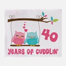 40th Anniversary Owl Couple Throw Blanket