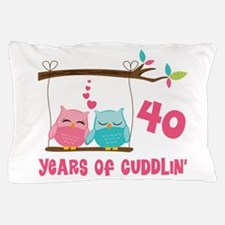 40th Anniversary Owl Couple Pillow Case