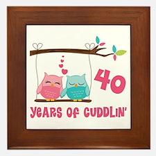 40th Anniversary Owl Couple Framed Tile