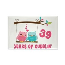 39th Anniversary Owl Couple Rectangle Magnet