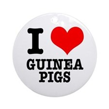 I Heart (Love) Guinea Pigs Ornament (Round)