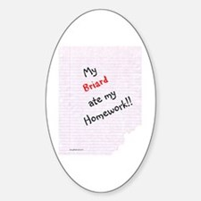Briard Homework Oval Decal