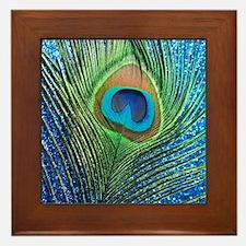 Glittery Blue Peacock Framed Tile