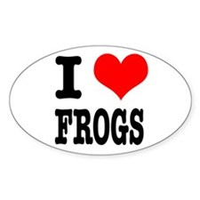 I Heart (Love) Frogs Oval Decal