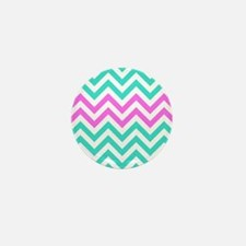 Turquoise and medium pink chevrons Mini Button