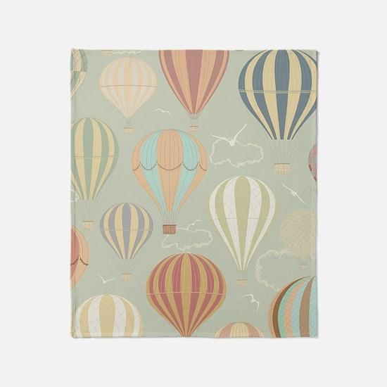 Vintage Hot Air Balloons Throw Blanket