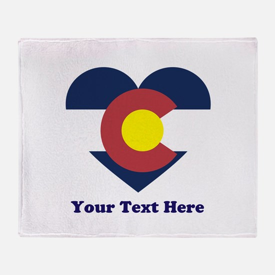 Colorado Flag Heart Personalized Throw Blanket