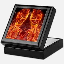 Smiling flaming Skeleton Keepsake Box
