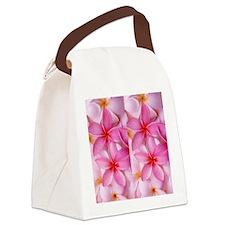 Pink Tropical Plumeria Canvas Lunch Bag