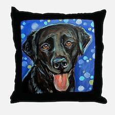 Black Labrador smile Throw Pillow