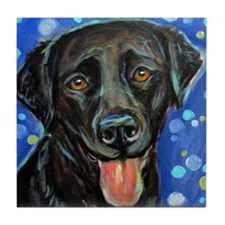 Black Labrador smile Tile Coaster