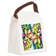 Lilies Among Colorful Splashes Canvas Lunch Bag