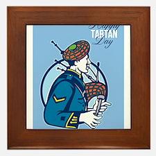Happy Tartan Day Bagpiper Greeting Card Framed Til