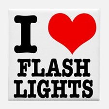 I Heart (Love) Flashlights Tile Coaster