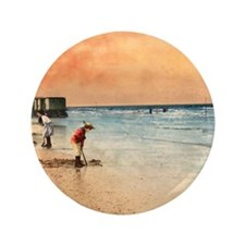 """Day at the Beach Vintage Fine Art 3.5"""" Button"""