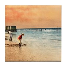 Day at the Beach Vintage Fine Art Tile Coaster