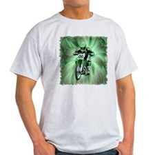 Dirt biker blasting thru green T-Shirt