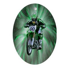 Dirt biker blasting thru green Oval Ornament