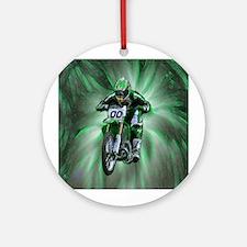 Dirt biker blasting thru green Ornament (Round)