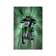Dirt biker blasting thru green Rectangle Magnet