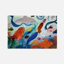 Mermaid  Tropical Fish party Rectangle Magnet