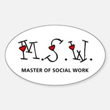 MSW Hearts (Design 2) Oval Bumper Stickers
