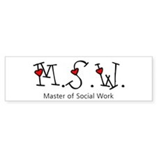 MSW Hearts (Design 2) Bumper Car Sticker