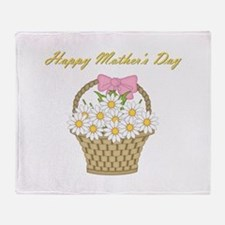 Happy Mother's Day (white daisies) Throw Blanket
