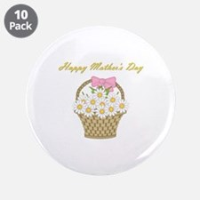 "Happy Mother's Day (white daisies) 3.5"" Button (10"