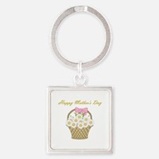 Happy Mother's Day (white daisies) Square Keychain