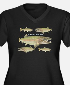 Steelhead Women's V-Neck Dark Plus Size T-Shirt