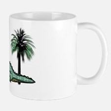 Christmas Alligator near Palm Tree with Mug