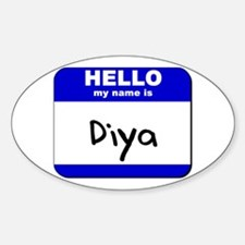 hello my name is diya Oval Decal