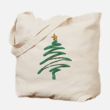 Sweeping Green Metallic Logo Christmas Tr Tote Bag