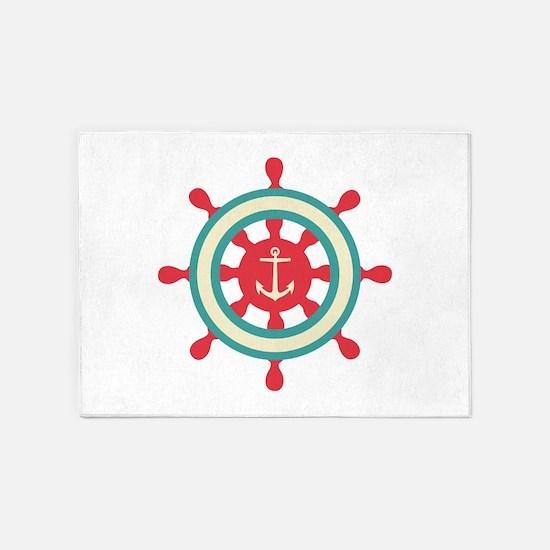 Anchor Ship Wheel 5'x7'Area Rug