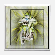 Dirt biker blasting thru yell Tile Coaster