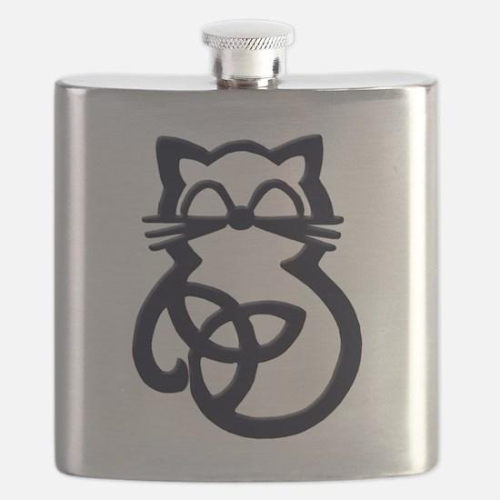 Black Trinity Knot Celtic Cat Flask