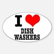 I Heart (Love) Dish Washers Oval Decal