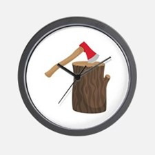 Axe With Log Wall Clock