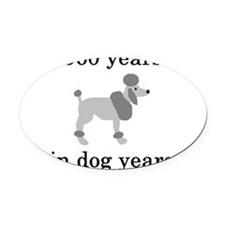 80 birthday dog years poodle Oval Car Magnet